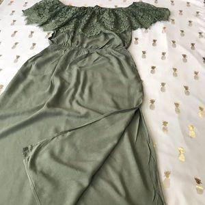 J for Justify Green Off the Shoulder Midi Dress